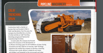 Calaf Trenching report on World Pipelines magazine